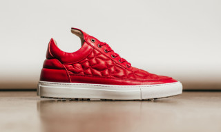 Filling Pieces Red Quilted Leather Low Top