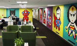 8-Bit Superhero Murals Made From 8,024 Sticky Notes