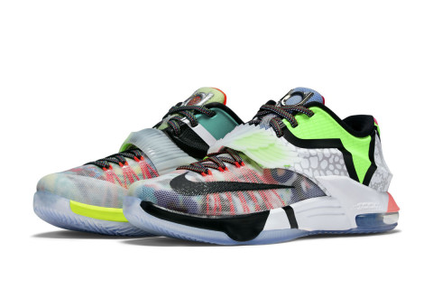 """Nike continues its series of """"What The"""" mashup sneakers with a  Frankenstein-style take on Kevin Durant's KD 7 sneaker. The basketball  low-top sports a ..."""