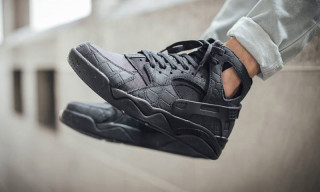 "Nike's Air Flight Huarache Gets the All-Black ""Croc Suede"" Treatment"