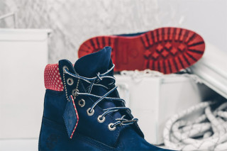 white and blue timberland boots