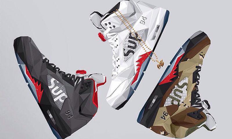 Supreme X Air Jordan 5 Collection Illustrated By 13th