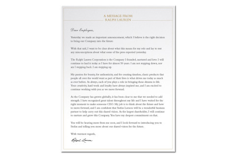 Ralph Lauren Pens Letter to His Employees Upon Resigning as CEO