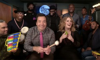 "Jimmy Fallon, Adele & The Roots Sing ""Hello"" With Classroom Instruments"