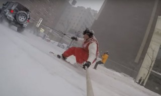 Casey Neistat Goes Snowboarding in New York City During the Blizzard