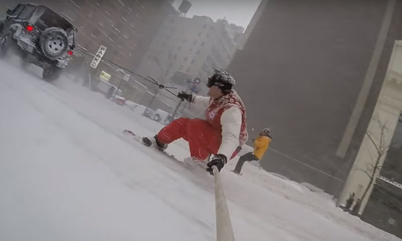 Casey Neistat Goes Snowboarding In New York City During