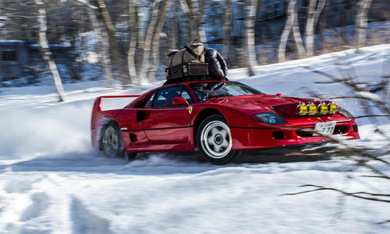 Worlds Biggest Car >> Watch This Ferrari F40 Take on a Snow-Covered Mountain