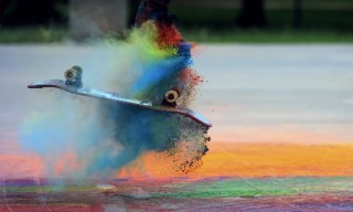 Watch Skateboarders Tear up Powdered Paint in Glorious Slow Motion