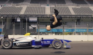 Watch Damien Walter Backflip Over a Speeding Formula E Car