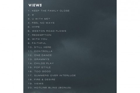 drake reveals views from the 6 tracklist
