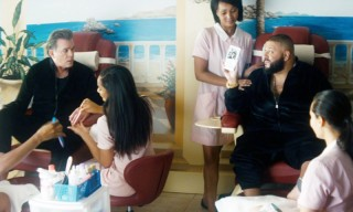 Dj khaled shares a kiss with naomi campbell in his first for A spot nail salon