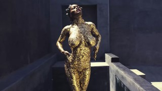 statue paint Gold nude body