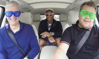 Tim Cook & Pharrell Join James Corden for 'Carpool Karaoke'