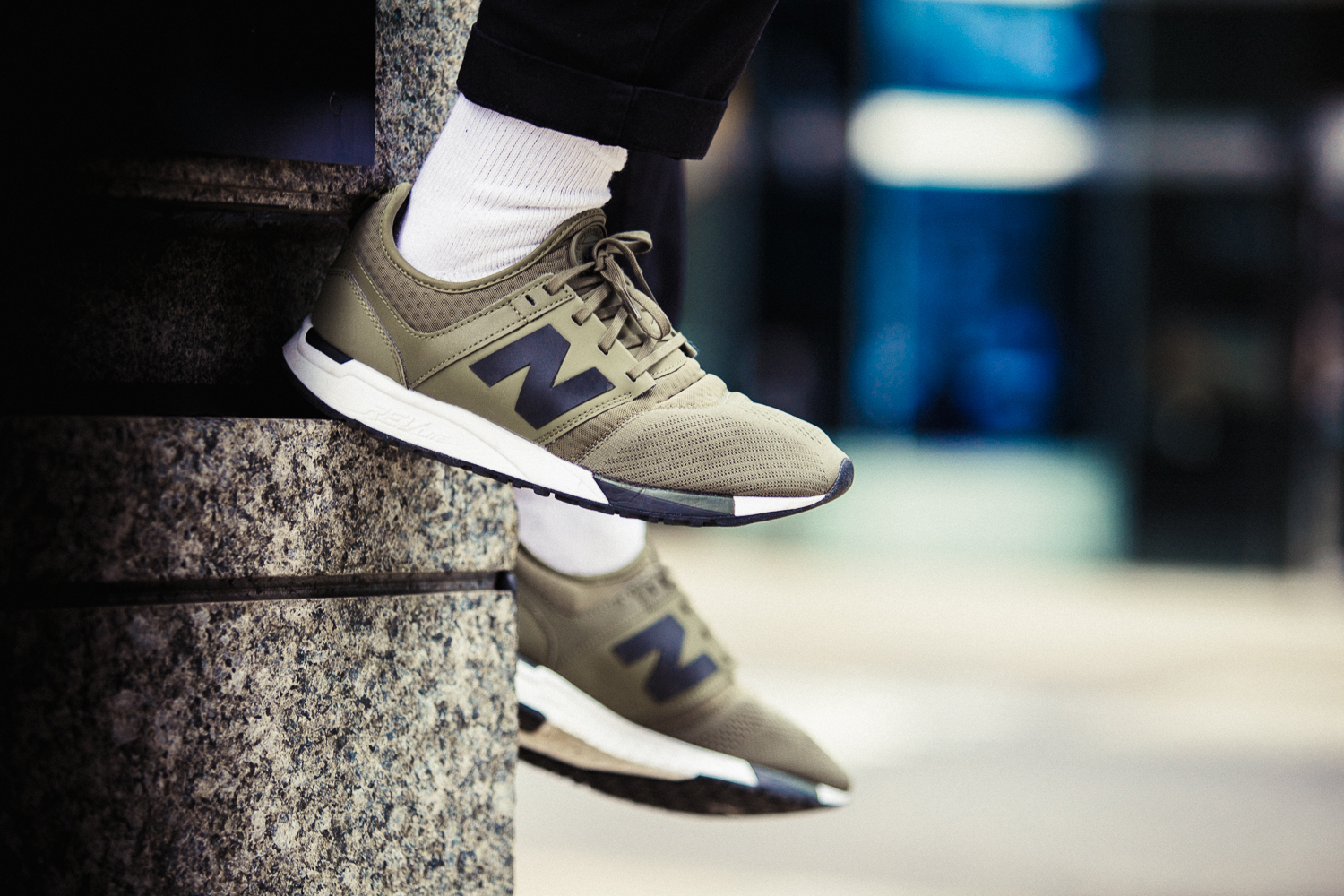 new balance 247 white on feet
