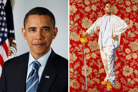 Image result for photos of Barack Obama's portrait was painted by Kehinde Wiley