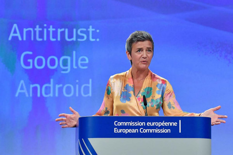 European Union  fines Google a record $5 billion over mobile system