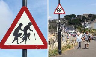 Banksy Debuts Road Sign Artwork in England