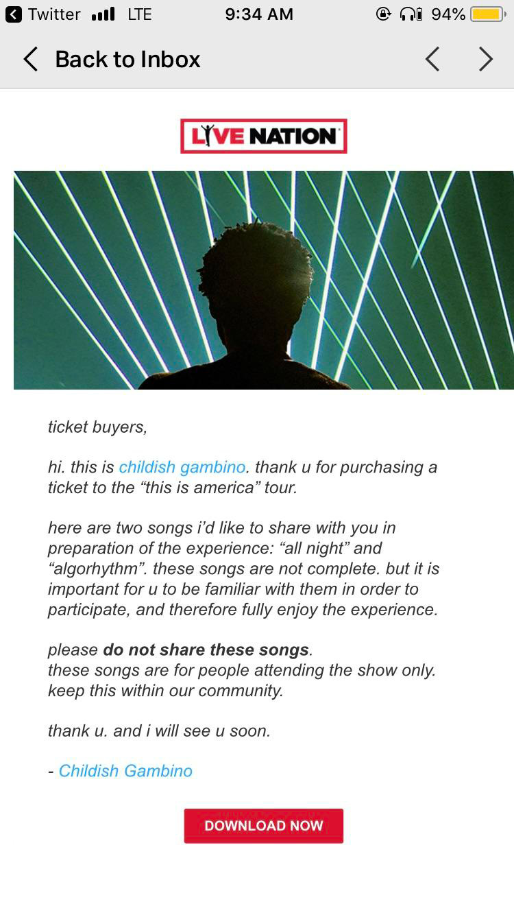 Childish Gambino drops off two new songs to tour ticketholdersChildish Gambino Gifted Songs To Fans 001