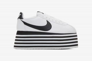 COMME des GARÇONS  Nike Cortez Platform Is Available in White   Black  Colorways bbd26b955f