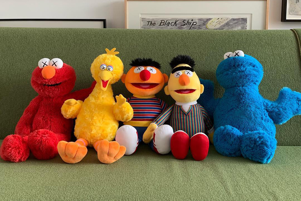 KAWS Unveils Plush Toys of the Whole 'Sesame Street' Gang