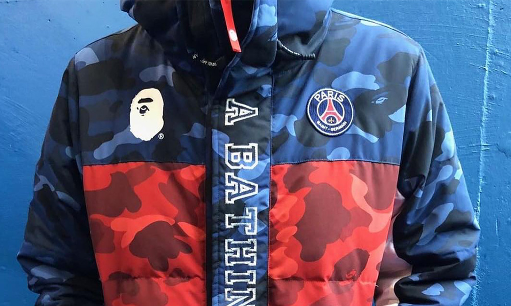 Bape has linked up with the soccer club Paris Saint-Germain because of  their forthcoming streetwear partnership and got a distinctive appearance  yesterday ... e701d2e23