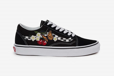 Vans Drops the Old Skool With a Checkered Sidestripe   Floral Embroidery f75ad174c