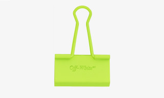 OFF-WHITE Drops Neon Yellow and Silver Binder Clip Keychains