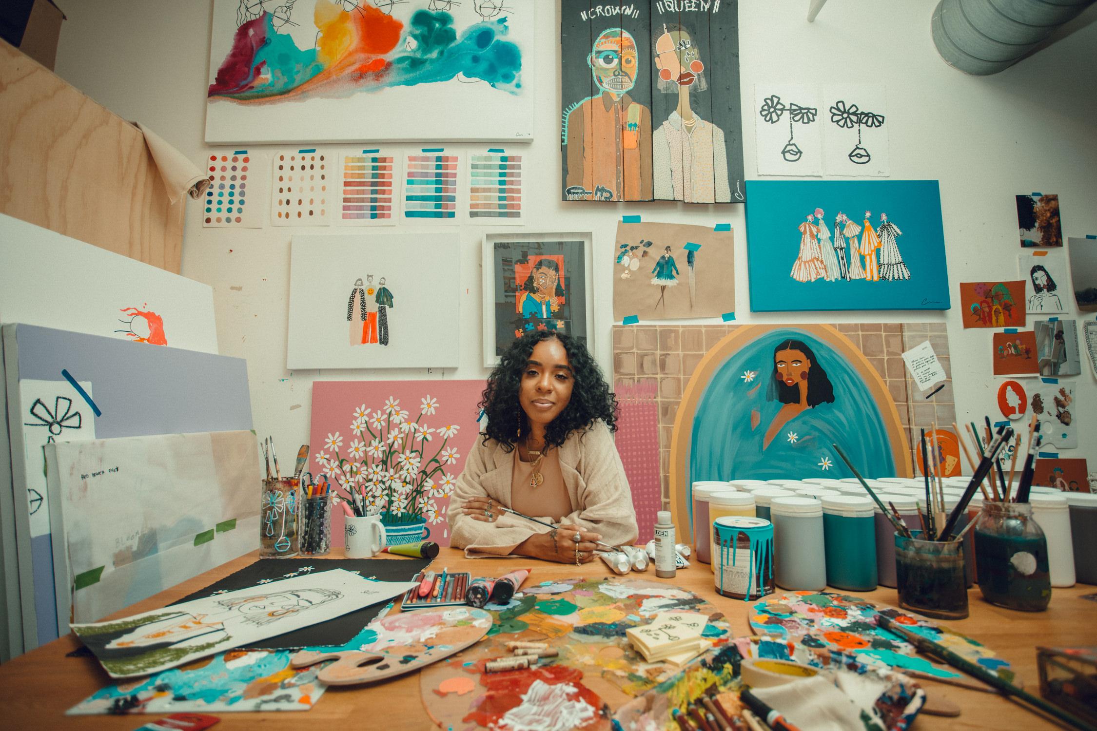 Cristina Martinez with her artwork