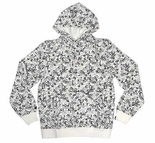 The hoodies feature a letter all-over print and come in grey/black, white/black and black/multicolor. They are now avaialble at End Clothing