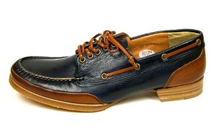 Chausser Navy Brown Boat Shoes