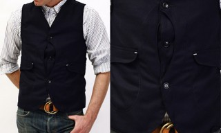 Post O'Alls Royal Traveler Vest Navy Herringbone Tweed