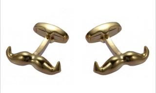 Gold Mustache Cufflinks for Movember