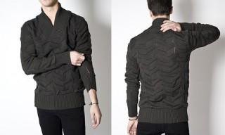 SNS Dark Grey Felt Shawl Neck Sweater