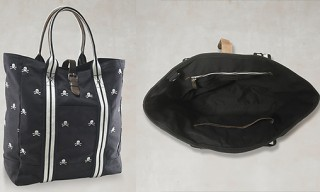 Rugby Canvas & Leather Skull Tote Bag