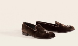 Barker Black Brown Velvet Slippers