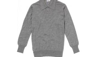 Drakes Grey Cashmere Polo Shirt
