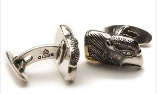 Glenn Sterling Silver Houou Eagle Head with Gold Cufflinks