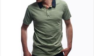 Left Field Green Stripe Polo Shirt