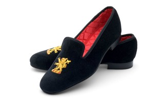 Aspinal of London Embroidered Velvet Slipper