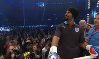 David Haye in New England Away Kit