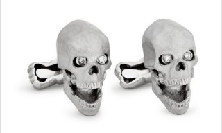 Ralph Lauren Purple Label Skull Cufflinks with Diamond Eyes