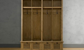 Shutter Weathered Oak 4-Bin Entry Lockers