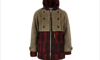 Monitaly Double Mackinaw Red & Black Plaid Wool Coat