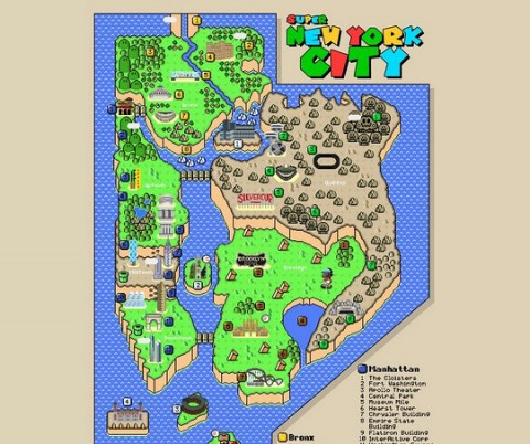 created by jesse eisemann the super mario bros inspired map artwork is perfect for any nostalgic new yorker who misses the old days when plumbers