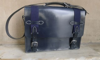North Sea Navy Leather Satchel