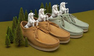Oi Polloi Clarks Wallabees – Unicorn Leather in Dijon and Wasabi