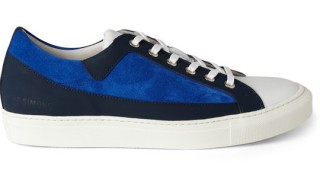 Raf Simons Blue Suede Panelled Sneakers