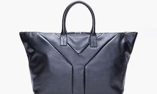 YSL Black Leather BV Hampton Bag