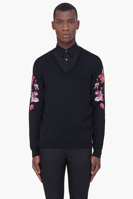 Alexander McQueen Black Floral Embroidered Sweater