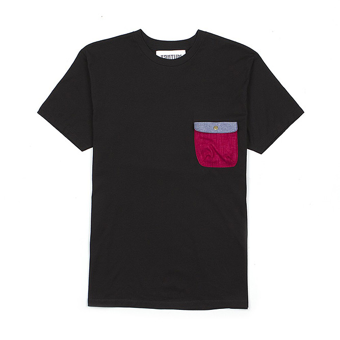 Tantum T-Shirt with Burgundy, Blue Chambray Pocket